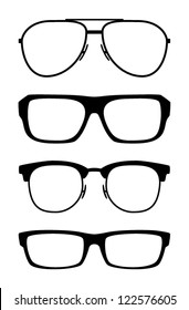 Set of classic vector glasses, isolated on white background