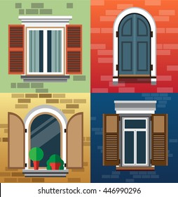 A set of classic windows for buildings (exterior).Vector illustration of a flat design. EPS 10.