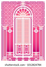 A set of classic windows and doors. building old town. white paper cut.