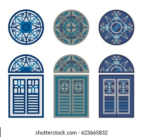 A set of classic windows. Pattern with a vintage windows.