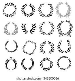 Set of classical laurel wreaths, symbol on white