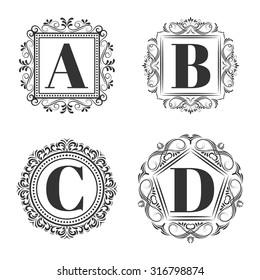 Set of classical logo or monogram design. Letters A, B, C, D. excellent vector illustration, EPS 10