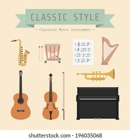 set of classical musical instrument and sign, flat style