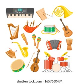 Set classical musical metal wood acoustic instruments: tambourine, drums, acoustic electronic guitars, violin, accordion, trumpet, flute, maracas, pianos, drums music instruments cartoon vector