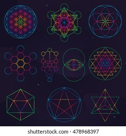 A set of classical sacred geometry symbols: The seed, Tree, Fruit and the Flower of Life, Metatron's Cube, Icosahedron, The Vesica Piscis, Sri Yantra, Pentagram, Star Tetrahedron.