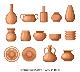 Set of clay crockery. Kitchenware dishes - plates, jugs, pots. Brown clay. Flat vector illustration isolated on white background.