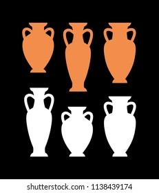 Set of clay and white color silhouettes of antique amphoras, vases. Vector icons, signs. On black background