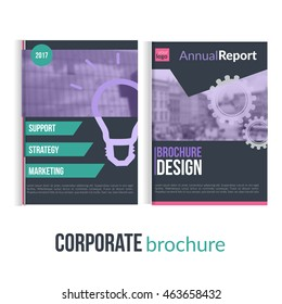 Set of Clean brochure cover templates with blured city landscape. Business design, flyer , professional corporate .