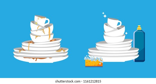 Set of clean and dirty dishes on blue background. White kitchen household cutlery before and after wash. Detergent label design template. Vector illustration.
