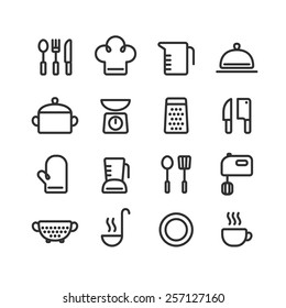 Set of clean line icons featuring various kitchen utensils and cooking related objects.