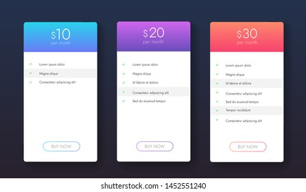 Set of clean simple business plans vector design. Ui ux banners for web app. Business plans colums. Price list with tarriffs.