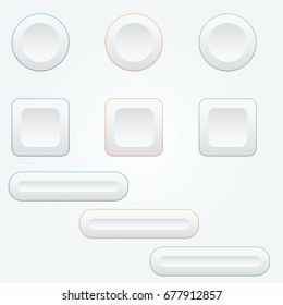 set of clean and simple minimal web buttons vector