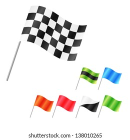 Set of clean vector isolated flags, start, finish, race, color