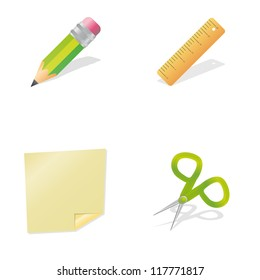 Set of clean vector office supplies