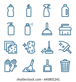 Set of cleaning agents and tools icons. Vector illustration