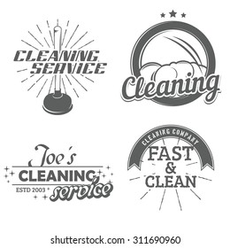 Set of cleaning emblems, badges and icons. Force cup label. Vector illustration