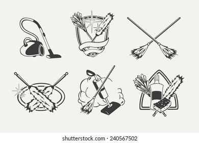Set of cleaning emblems, badges, labels and designed elements.