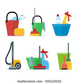 Set of Cleaning Equipment: bucket, mop, sponge, rag, detergent, vacuum cleaner, shovel. House cleaning service, professional office cleaning, domestic cleaning service illustration. Icon set in flat