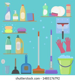 Set for cleaning the house. Cleaning agent, soap, sponges, mop, broom, bucket, gloves, scoops, brushes.