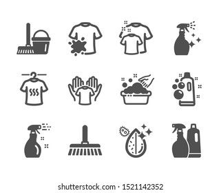 Set of Cleaning icons, such as Clean t-shirt, Washing cleanser, Hold t-shirt, Cleaning spray, Clean bubbles, Cleaning mop, Shampoo and spray, Bucket with mop, Dirty water, Hand washing. Vector