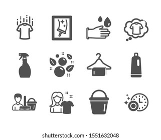 Set of Cleaning icons, such as Clean towel, Dry t-shirt, Spray, Window cleaning, Bucket, Clean bubbles, Rubber gloves, T-shirt, Dishwasher timer, Shampoo, Cleaning service classic icons. Vector