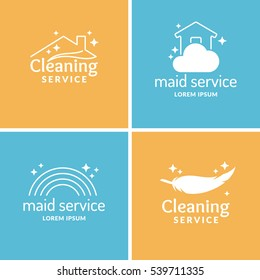 Set Cleaning and maid service. Label collection. Vector logo and design elements.