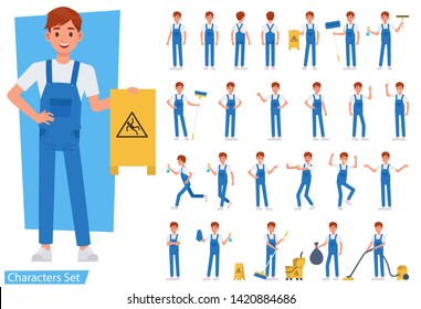 Set of cleaning man staff character vector design. Presentation in various action with emotions, running, standing and walking.
