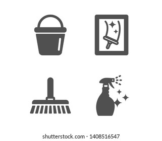Set of Cleaning mop, Bucket and Window cleaning icons. Washing cleanser sign. Sweep a floor, Washing equipment, Housekeeping service. Housekeeping spray.  Classic design cleaning mop icon. Flat design