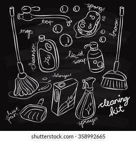 Set of cleaning product doodle on chalk board