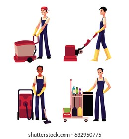 Set of cleaning service boy, man, cleaner in overalls, cartoon vector illustration isolated on white background. Cleaning service boy doing vacuum cleaning, washing, pushing cleaning trolley