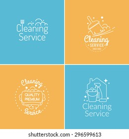 Set. Cleaning service. Label collection. Logo and design elements.