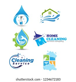 Set of cleaning service logotype. concept of squeegee, purification, wet cleaning, mop, cleanup badge, sweeping. isolated on white background