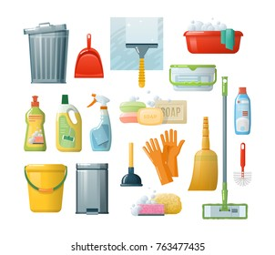 Set of cleaning supplies tools accessories: buckets, tools, brushes, basins, gloves, sponges. Household supplies, cleaning up debris and dust, cleaning floors. Cleaning in office, room vector