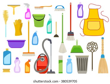 Set of cleaning supplies. Tools of housecleaning. Vector