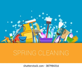 Set of cleaning supplies.Vector