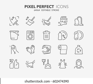 Set of cleaning thin line icons. Contains icons as windows and floor cleaning, housekeeping, air freshener, maid service and more. Editable vector stroke. 64x64 Pixel Perfect.