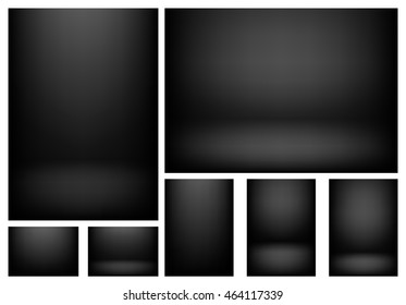 Set of clear empty studio light vector dark backgrounds for product presentation, A4 format