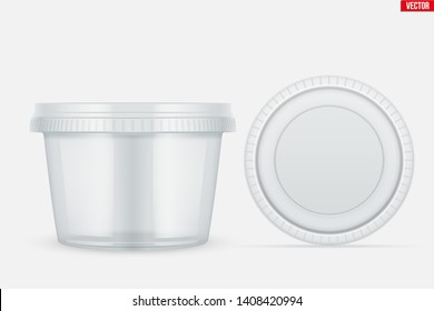 Set of Clear Plastic container with lid for food. Circle Realistic Blank of Food delivery and foodstuff. Vector Illustration isolated on background.