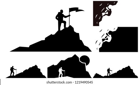 Set of Climber background vector template. Outdoor banner template
