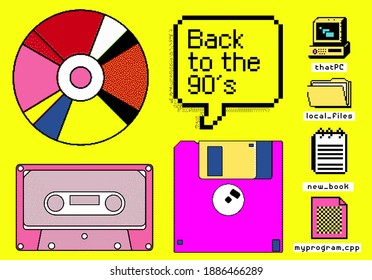 Set of clipart elements with retro obsolete things: floppy disk, music CD and cassette, etc. Vector illustrations in pixel art style.