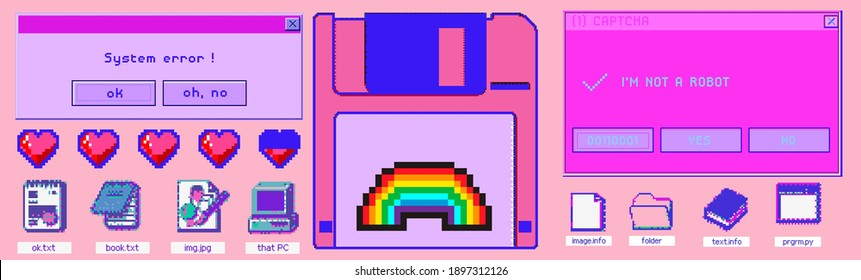 Set of clipart elements with retro obsolete things: floppy disk, user interface icons, etc. Trendy modern fashion patch or sticker set in pixel art style like in old arcade video games of the 80s.