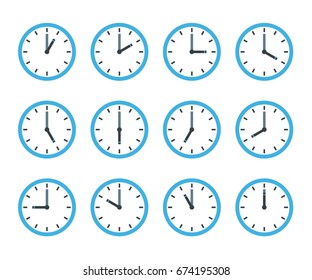 Set of clock flat icon
