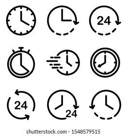 Set of Clock icon. Symbol of time with trendy flat style icon for web, logo, app, UI design. isolated on white background. vector illustration eps 10