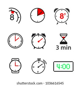A set of clock icons. vector illustration on white background. Ready and simple to use for your design. EPS10