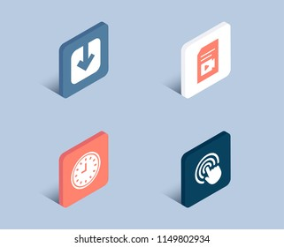 Set of Clock, Load document and Video file icons. Click sign. Time or watch, Download arrowhead, Vlog page. Cursor pointer.  3d isometric buttons. Flat design concept. Vector