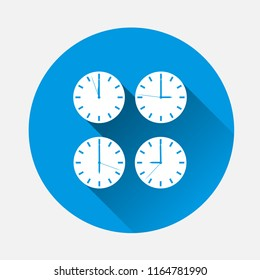 Set of clock showing different time on blue background. Flat image clock with long shadow. Layers grouped for easy editing illustration. For your design.