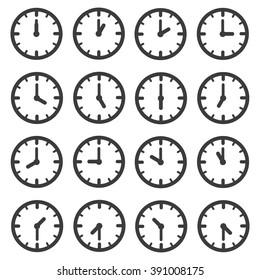 Set of clocks for every hour