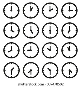 A set of clocks for every hour and some thirty minutes.