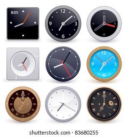 Set of clocks on a white background
