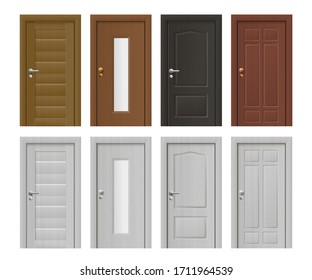 Set of closed entrance house and rooms doors icons, realistic vector illustration isolated on white background. Building interior and exterior architectural element.